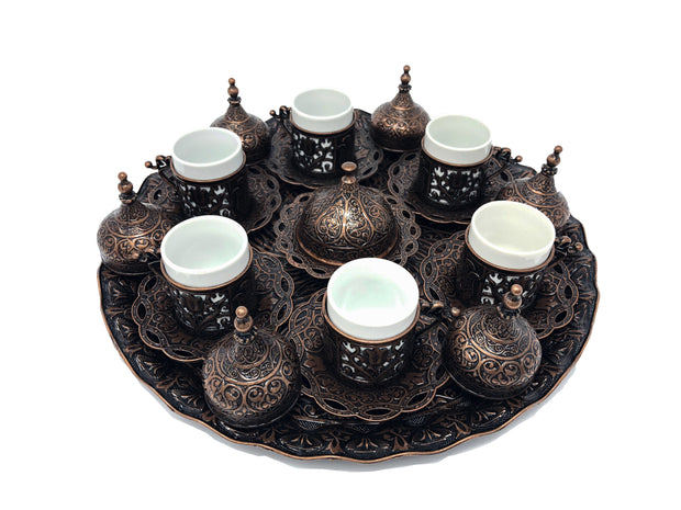 Konya Antique Copper Traditional Handmade Ottoman Metal Turkish Coffee Set