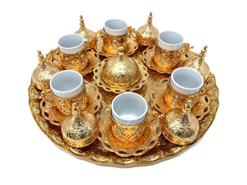 Konya Gold Traditional Handmade Ottoman Metal Turkish Coffee Set