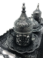 Sivas Antique Silver Traditional Handmade Ottoman Metal Turkish Coffee Set