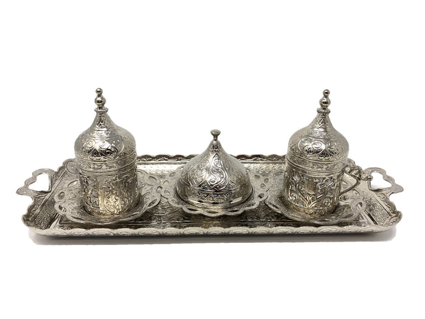 Sivas Silver Traditional Handmade Ottoman Metal Turkish Coffee Set