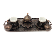 Sivas Antique Copper Traditional Handmade Ottoman Metal Turkish Coffee Set