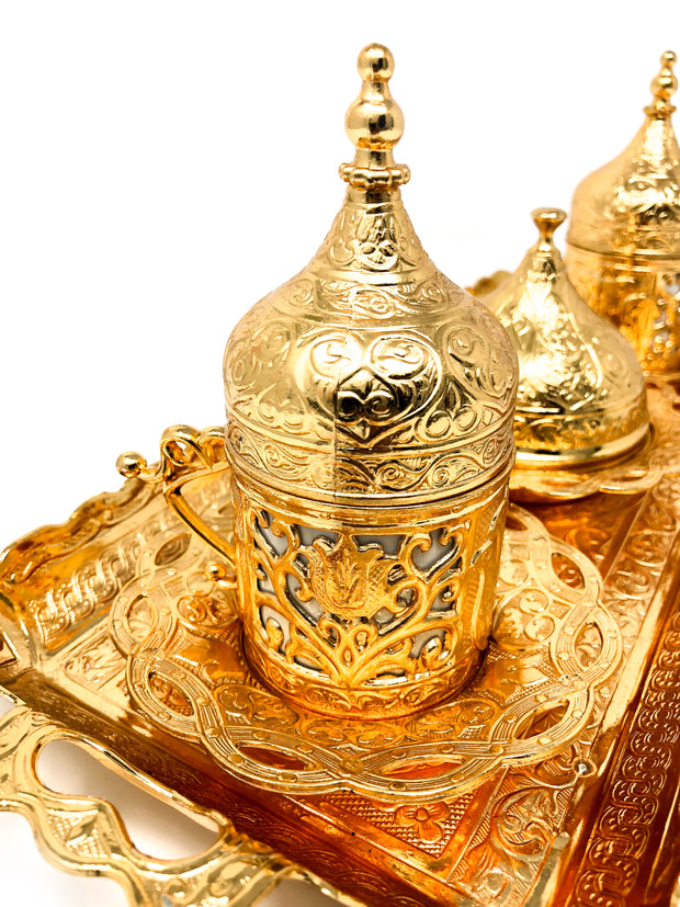 Sivas Gold Traditional Handmade Ottoman Metal Turkish Coffee Set