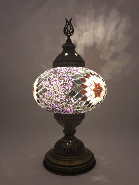Mosaic Turkish Lamp Rose Gold Large