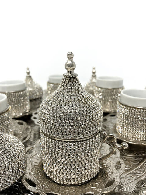 Sultan Crystal Coated Cup Handmade Copper Turkish Coffee Espresso Silver Serving Set