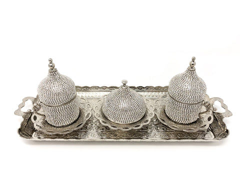 Sultana Crystal Coated Cup Handmade Copper Turkish Coffee Espresso Silver Serving Set