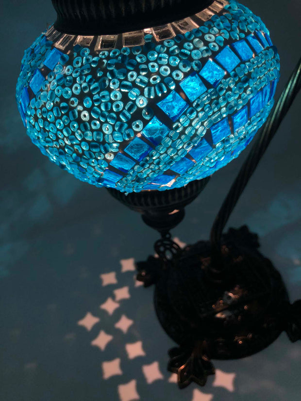 Mosaic Turkish Lamp Swan Neck Blue Sky