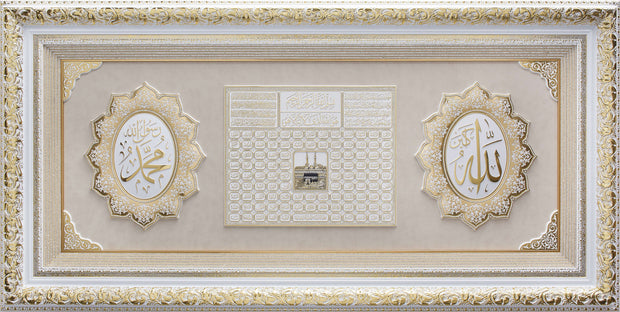 LARGE 6 Feet Wall Frame Gold/White