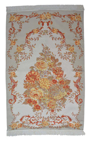 AYDIN Turkish Islamic Luxury Lavanta Large Prayer Rug Embroidered Floral Pattern- Orange