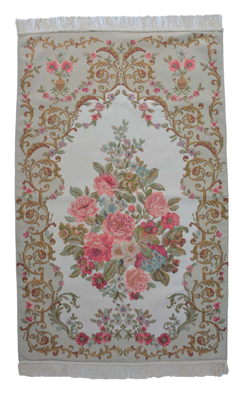 AYDIN Turkish Islamic Luxury Lavanta Large Prayer Rug Embroidered Floral Pattern- Pink