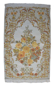 AYDIN Turkish Islamic Luxury Lavanta Large Prayer Rug Embroidered Floral Pattern- Yellow