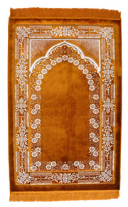 Lux Plush Velvet Prayer Rug Luxury Islamic Muslim Sajadah- Brown