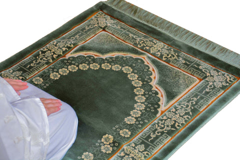 Lux Plush Velvet Prayer Rug Luxury Islamic Muslim Sajadah- Green