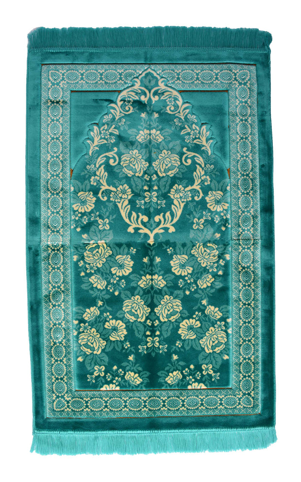 Lux Plush Velvet Prayer Rug Luxury Islamic Muslim Sajadah- Turquoise