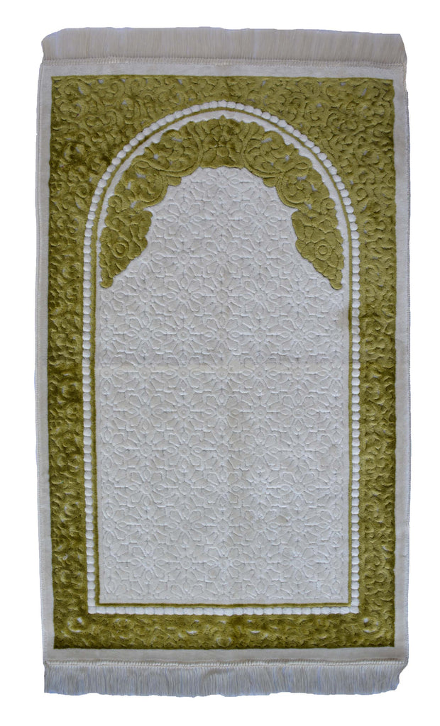 Plush Velvet Prayer Rug Luxury Islamic Muslim Sajadah- Light Green