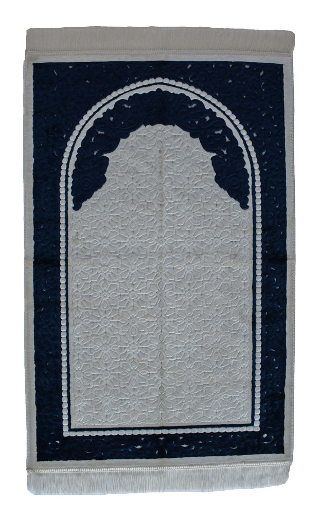 Plush Velvet Prayer Rug Luxury Islamic Muslim Sajadah- Navy