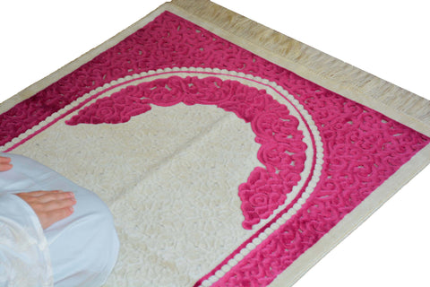 Plush Velvet Prayer Rug Luxury Islamic Muslim Sajadah- Pink