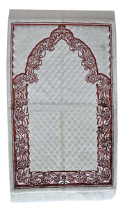 Plush Velvet Prayer Rug Luxury Islamic Muslim Sajadah- Light Brown