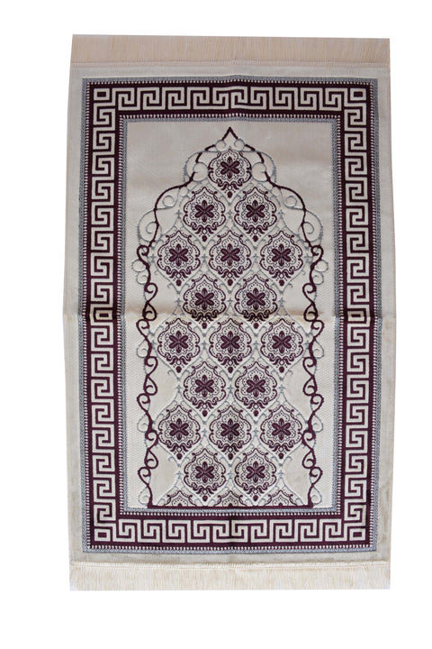 Plush Velvet Prayer Rug Luxury Islamic Muslim Sajadah- Dark Brown