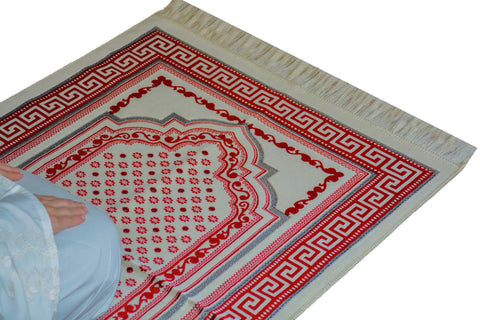 Plush Velvet Prayer Rug Luxury Islamic Muslim Sajadah- Red