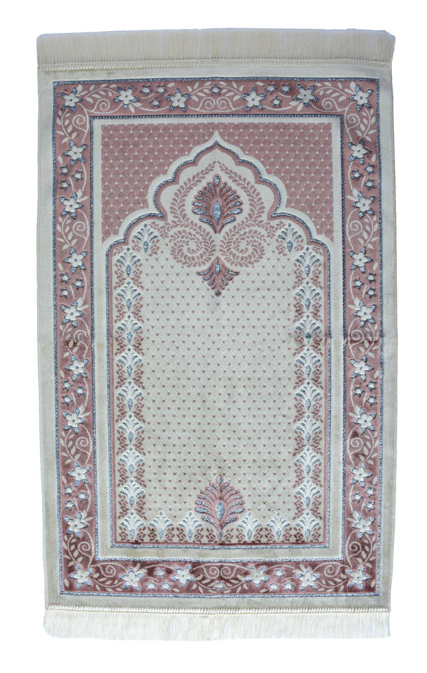 Plush Velvet Prayer Rug Luxury Islamic Muslim Sajadah- Rose Gold