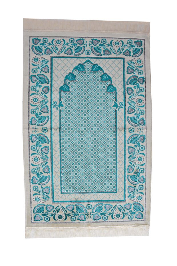 Plush Velvet Prayer Rug Luxury Islamic Muslim Sajadah- Turquoise