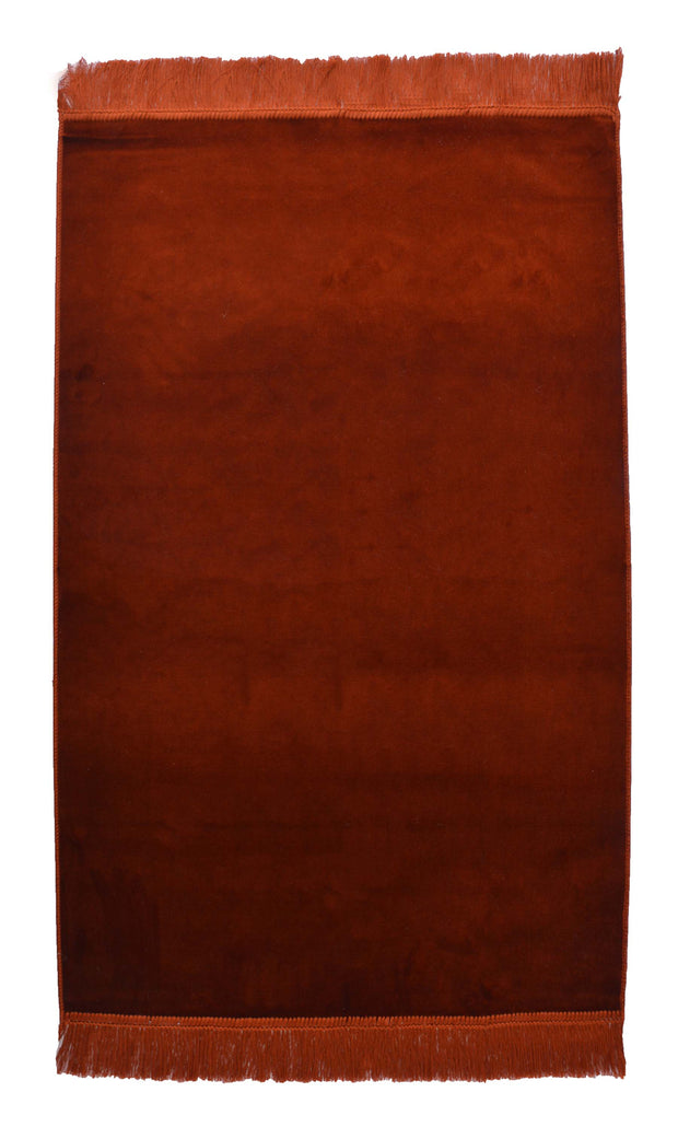 Turkish Prayer Rug Luxury Islamic Muslim Velvet Sajadah- Brown