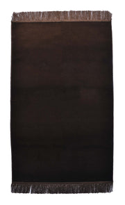 Turkish Prayer Rug Luxury Islamic Muslim Velvet Sajadah- Dark Brown