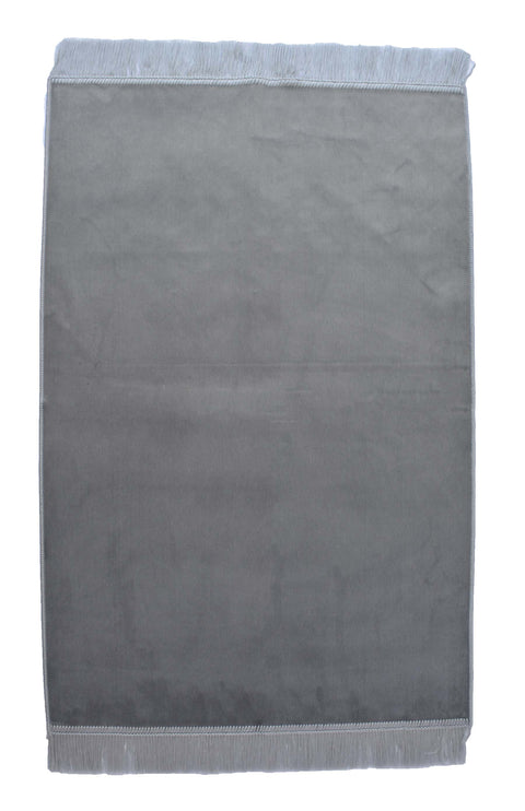 Turkish Prayer Rug Luxury Islamic Muslim Velvet Sajadah- Gray