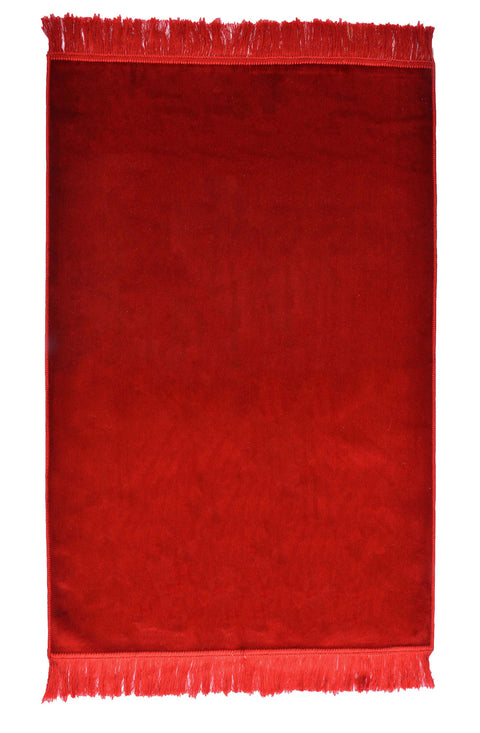 Turkish Prayer Rug Luxury Islamic Muslim Velvet Sajadah- Red