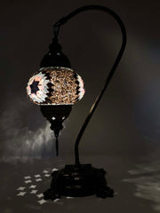 Mosaic Turkish Lamp Swan Neck Rose Gold