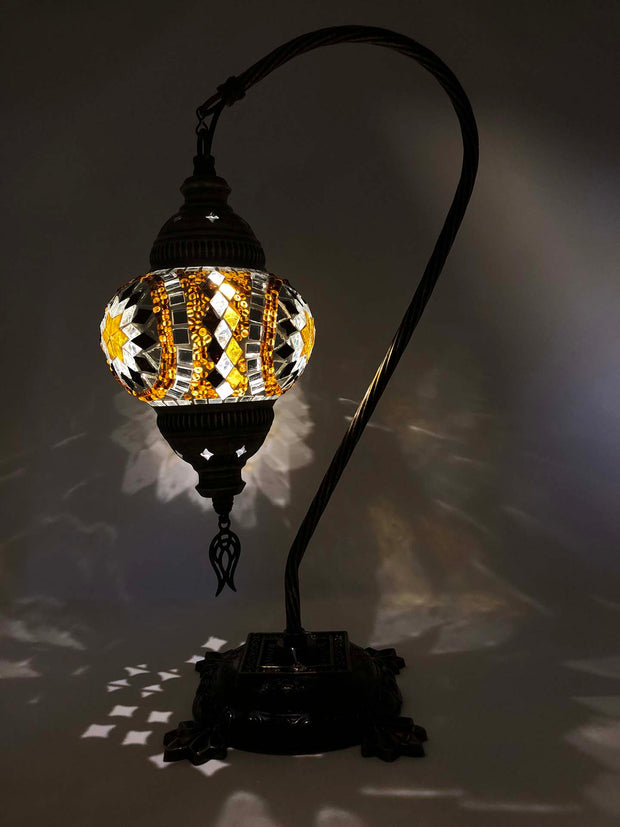 Mosaic Turkish Lamp Swan Neck Royal Gold