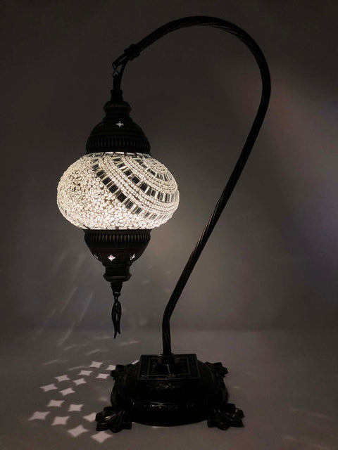 Mosaic Turkish Lamp Swan Neck White
