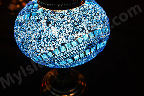 Mosaic Turkish Lamp Light Blue Large