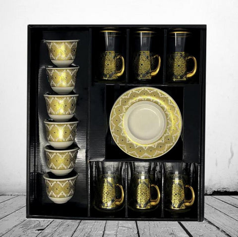 Afyon Tea Set -Gold Floral