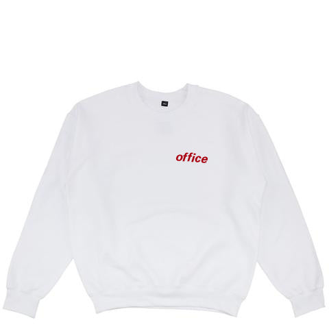 Red Logo White Crew Neck Sweatshirt