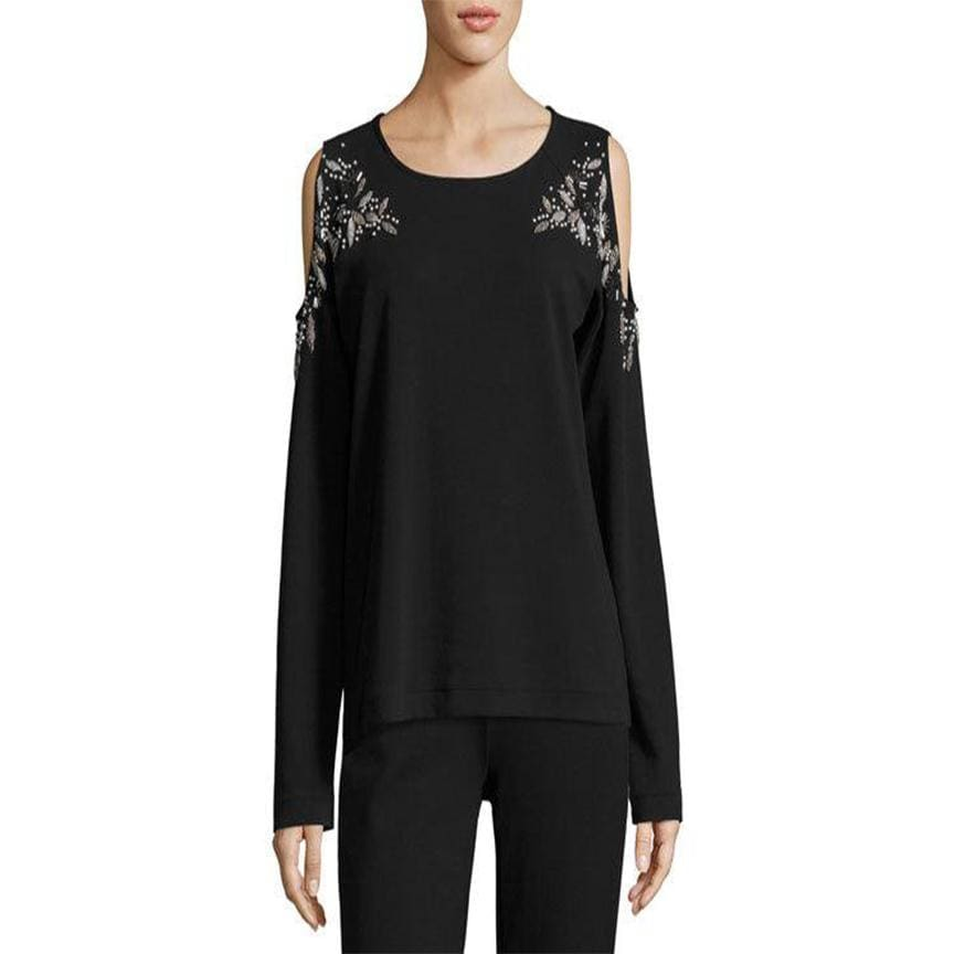 Beaded Black Open Shoulder Top - Black - Top