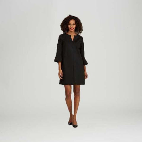 Black Bell Sleeve Dress - Black - Dress