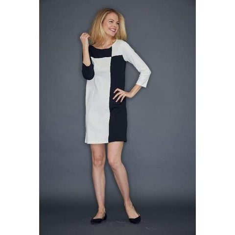 Black Colorblock Interlock Dress - Dress