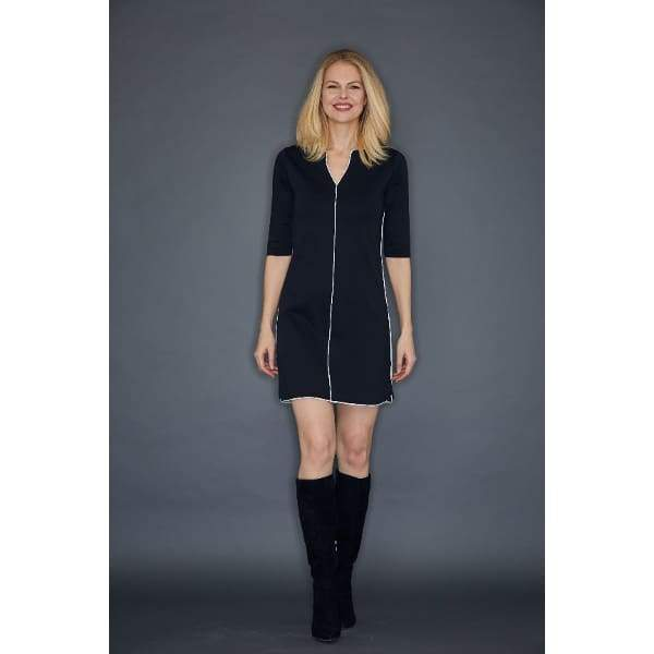Black Contrast Trim Dress - Dress