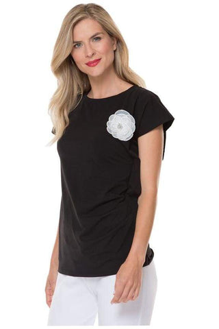 Black Rouched Tee with Flower Pin - 00 / Black - Top