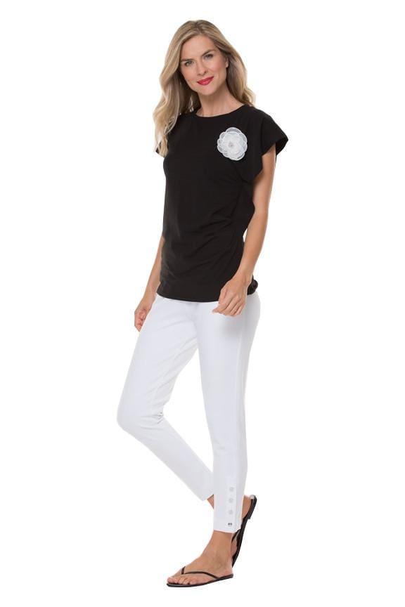 Black Rouched Tee with Flower Pin - Top