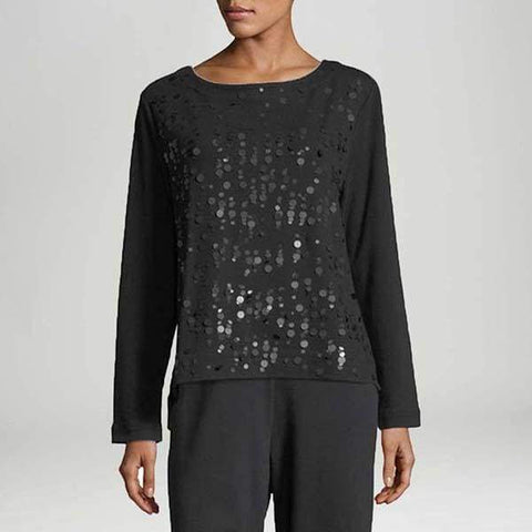 Black Sequins Front Top - Black - Top