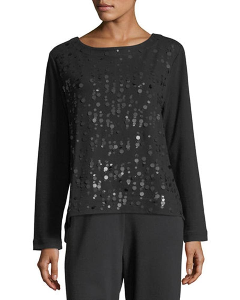 Black Sequins Front Top - Top