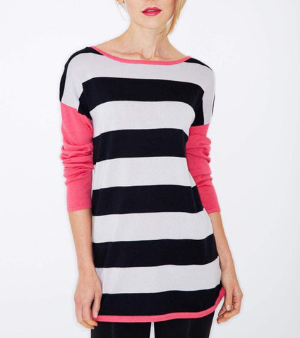 Black Stripe Pullover - Pitch Black - Top