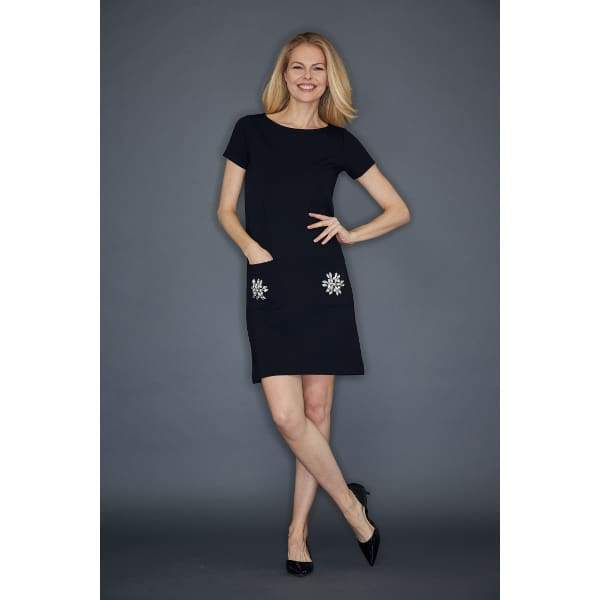 Black Two Pocket Dress - Dress