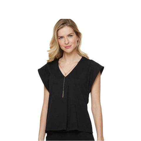 Black V-Neck Top with Chain - Black - Top