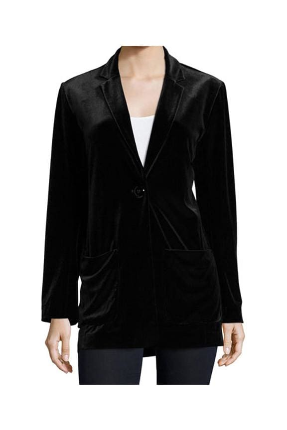 Black Velvet Boyfriend Jacket - Black - Jackets