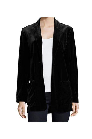 Black Velvet Boyfriend Jacket - Jackets