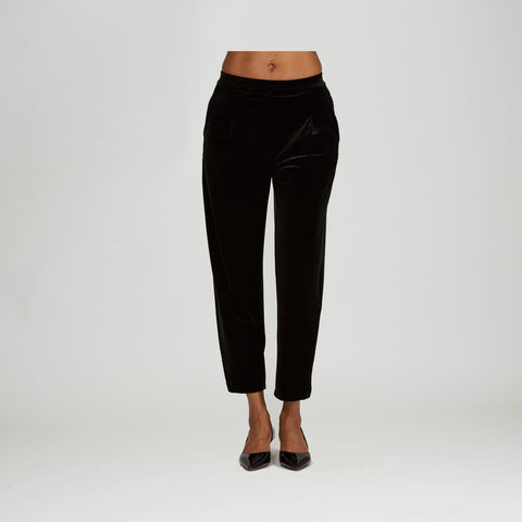 Black Velvet Pant - Black - Pants Bottom