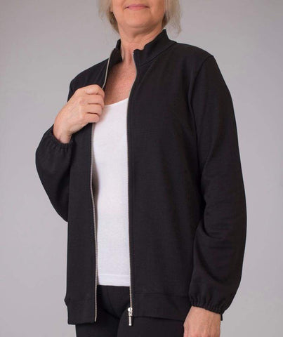 Black Zip Mock Jacket - Black - Jacket
